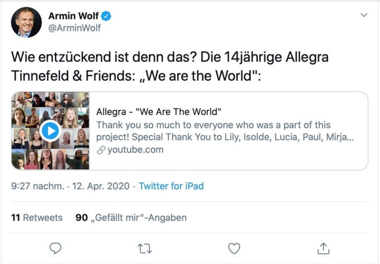 Armin Wolf Twitter - We are the World